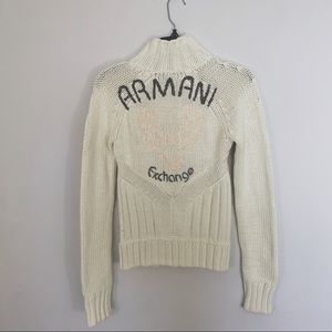 Armani Exchange Cream Knit Sweater With Logo